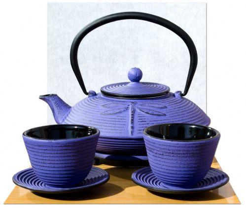 Round Trivet Cups Cast Iron Purple Dragonfly teapot 0.8 litre Japanese style
